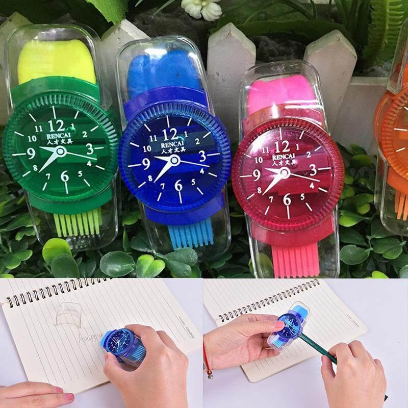 Orange Sunshine Mixed Novelty School Multi Coloured Wristwatch Shaped Pencil Eraser Sharpener