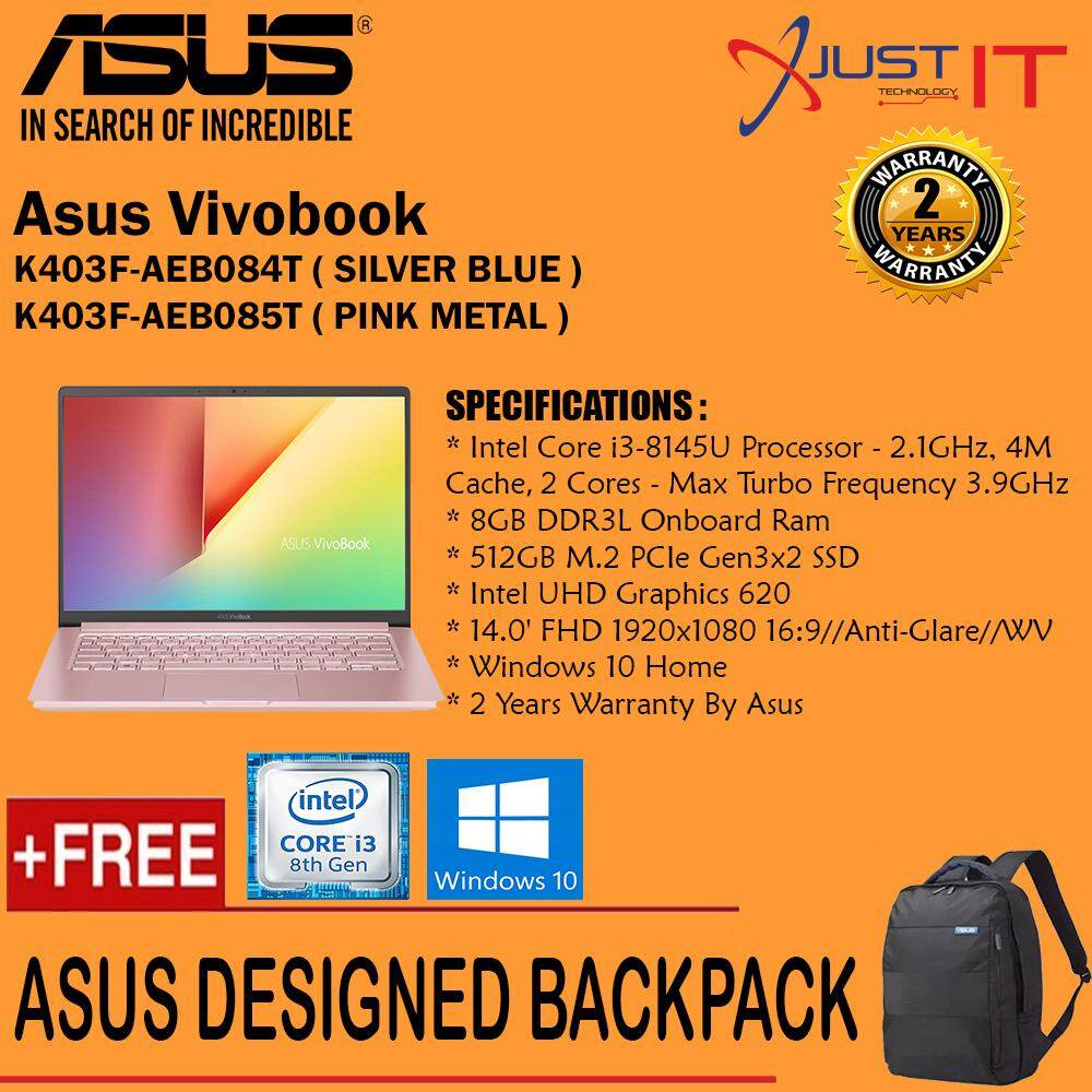 ASUS K403F-AEB084T (BLUE) / K403F-AEB085T (PINK) I3-8145U 8GD3 512SSD WIN10H [ FREE ASUS BACKPACK ] Malaysia