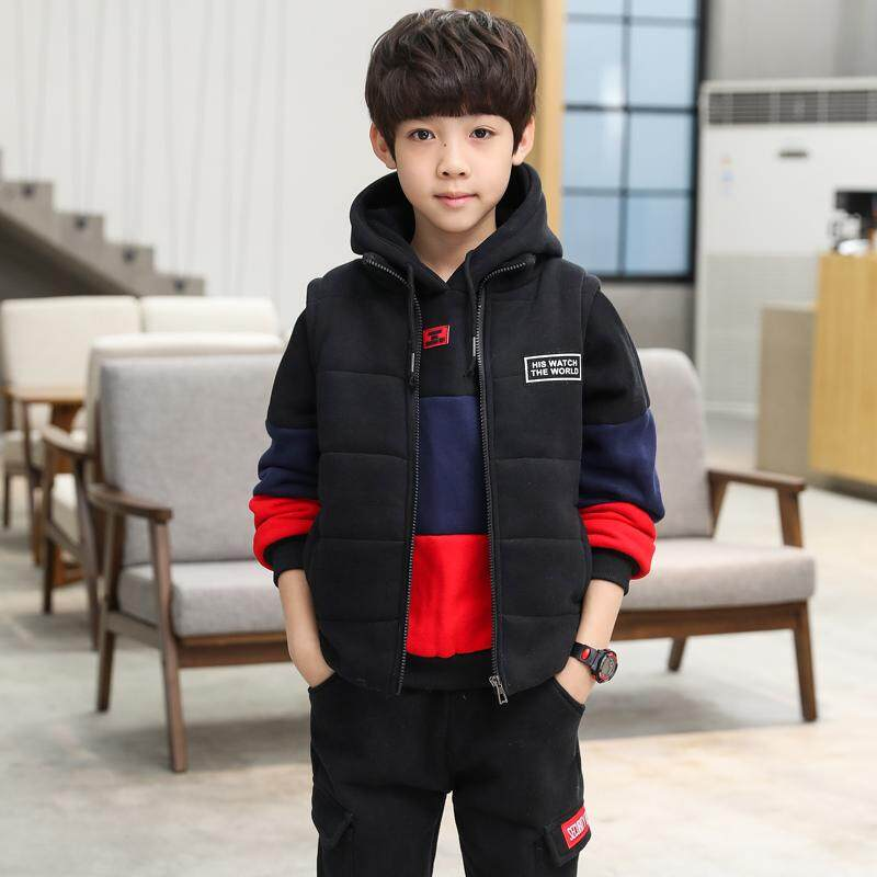 Childrens Winter Jacket Boy Thickening Plus Velvet Warm Casual Jacket Large Childrens Hooded Cotton Clothing Suit Set Three By Shichao.