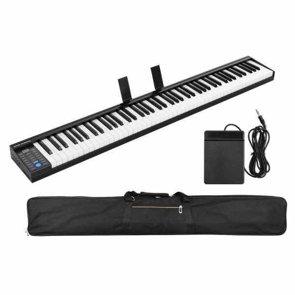 88 Keys Digital Electronic Piano Keyboard MIDI Output Built-in Stereo Speakers Light Strip with 400 Tones 128 Rhythms 80 Demo Songs Headphone Speaker Output Drum Kit Function Reording Sustain Vibrato Chord with Pedal Built-in Battery (Us) Malaysia