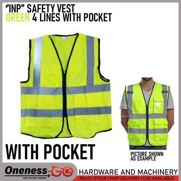 INP SAFETY VEST -GREEN 4 LINES WITH 4 POCKET