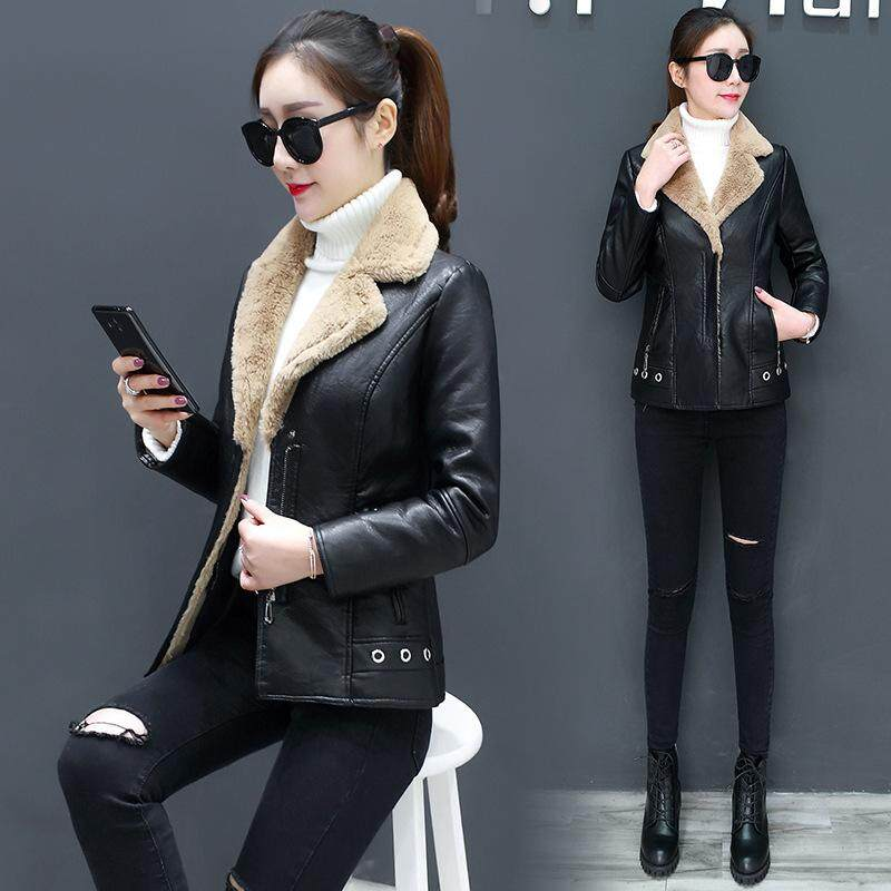 125f4caf6fd Winter Women's Leather Coat Fur Collar Jacket Coats Warm Thick Outerwear  Jackets Plush Casual Leather Outerwear