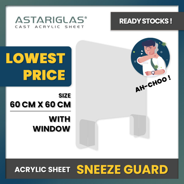 [LOW PRICE] 60CMx60CM Acrylic Sneeze Guard / Acrylic Protect Shield / Acrylic Counter Divider / Acrylic Transparent Barrier