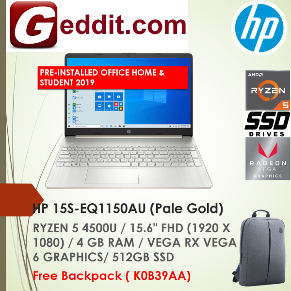 HP 15S-EQ1149AU (SILVER) / 15S-EQ1150AU (GOLD) LAPTOP (RYZEN 5 4500U,4GB,512GB SSD,15.6 FHD,VEGA GRAPHICS,WIN10) FREE BACKPACK + PRE-INSTALLED OFFICE H&S 2019 Malaysia