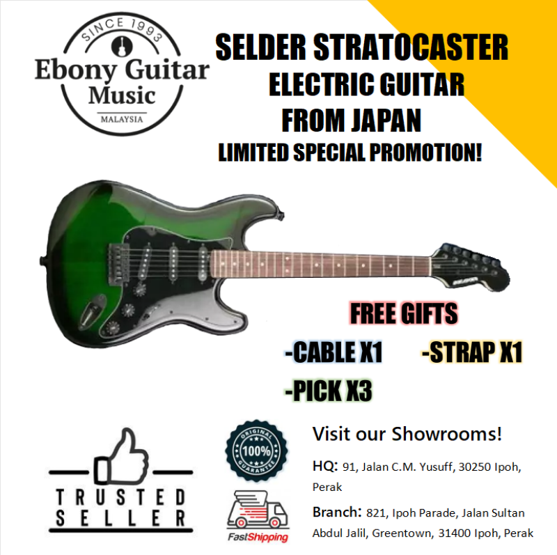Selder High Quality Standard Stratocaster Electric Guitar from Japan,Dark Green Malaysia