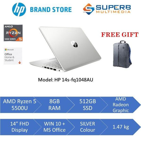 HP Laptop 14s-fq1047AU Gold or 14s-fq1048AU Silver (AMD Ryzen 5 5500u, 8gb ram, 512gb ssd, AMD Radeon Graphic, 14 FHD, Win10, OPI) Malaysia