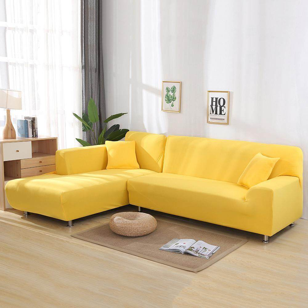 NiceToEmpty [Fast Delivery]3 Seater L Shape Stretch Elastic Fabric Sofa Cover Pet Dog Sectional 2Piece/Couch Covers/Covers for Sofa Elastic Couch Shield,Furniture Protector Set of 18