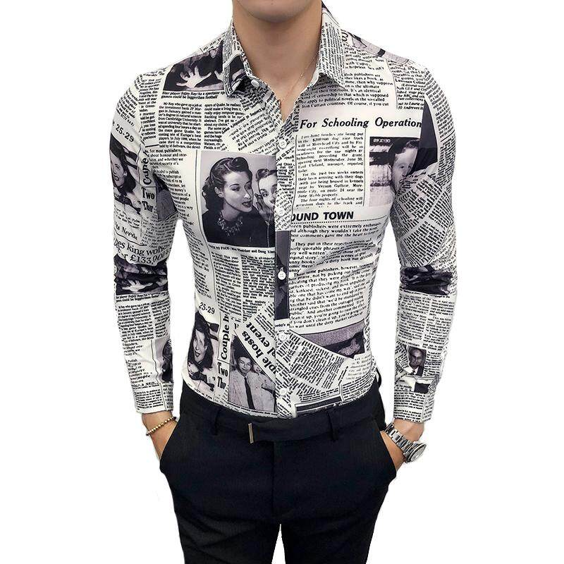 964efe917c7 Men s Long-sleeved Fashion Casual Shirt Spring And Autumn M-5XL Printing  Newspaper Slim