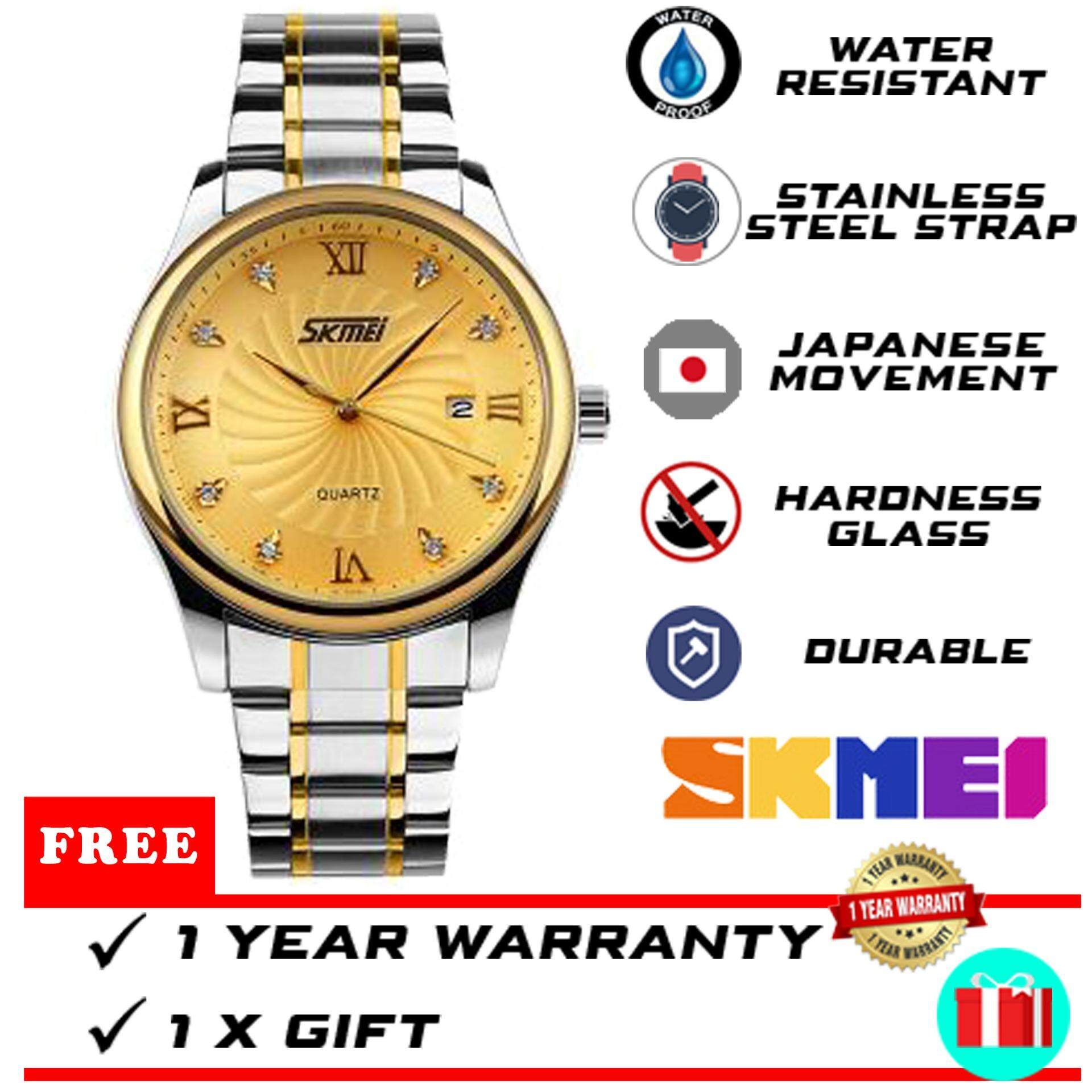 Original SKMEI Brand WTH-418 Classic Quartz Calendar Shockproof Waterproof Business Stainless Steel Men Watch [FREE GIFT & READY STOCK] Malaysia