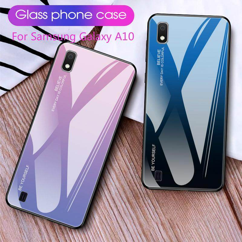 For Samsung Galaxy A10 Gradient Color Tempered Glass Case Luxury Glass Back Cover Soft TPU Bumper