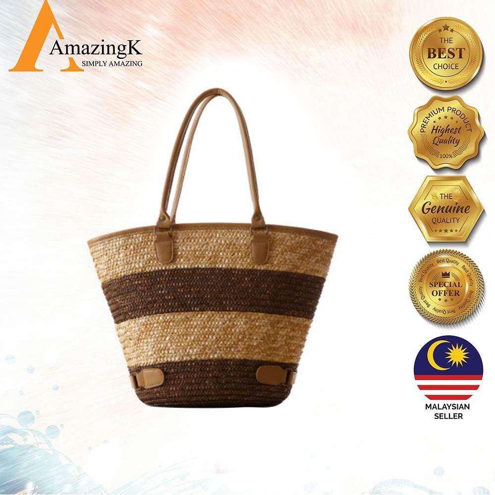 cae3fedd6 Hand Woven Shoulder Bags Retro Wooden Beads Straw match leisure Modern  stylish handmade Rattan Female bag