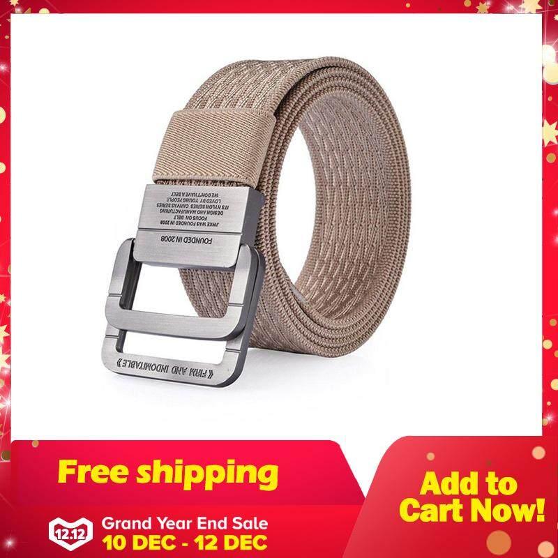 125cm slgol Taktis Web Double Ring Belt gaya Militer Kasual Kualitas  Premium 42854720e2