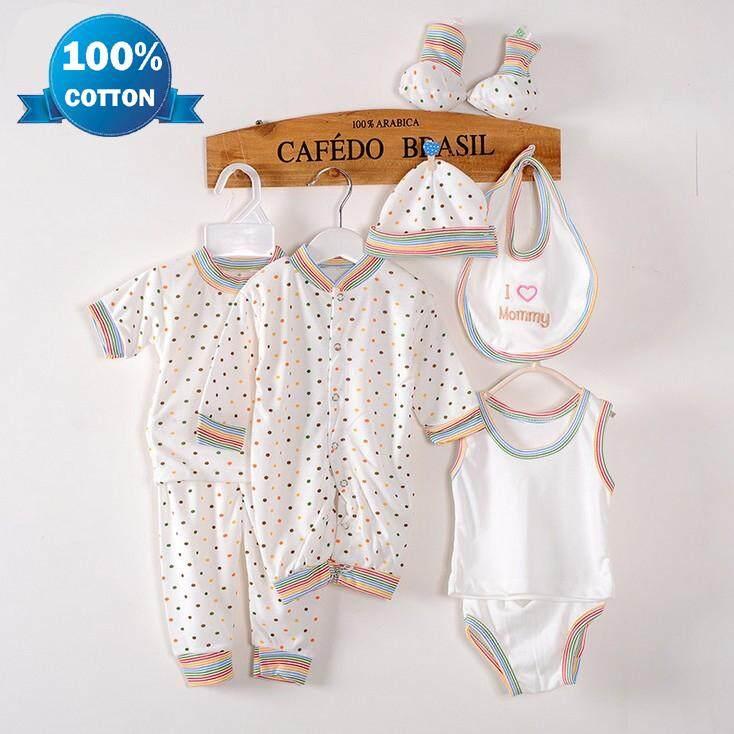 1dff858d6 8PCS Soft Cotton Unisex Newborn Baby Infant Clothes Clothing Set Includes  Jumpsuit T-shirt Pants