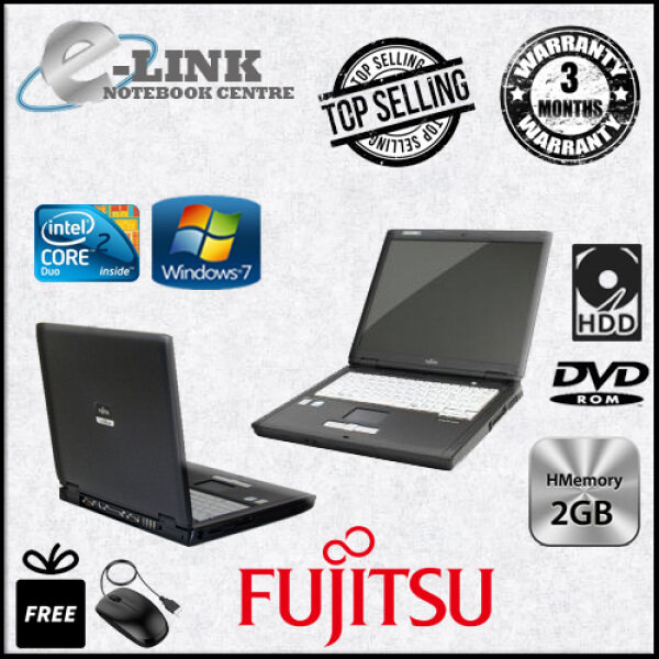 (REFURBISHED) Fujitsu LIFEBOOK FMV-C8240 Laptop | Intel Core 2 Duo T5500 1.66GHz / 2GB RAM / 80GB HDD Malaysia