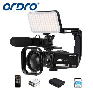 Camera Video 4K ORDRO Máy Quay Phim Máy Ghi Hình Camera WiFi Màn Hình Cảm Ứng IPS 1080 Zoom Quang Học 10X3.1 P 60 Khung Hình Giây Có Micro, Ống Kính Góc Rộng, Giá Đỡ Máy Ảnh, Đèn Video Và Thẻ SD 32GB thumbnail