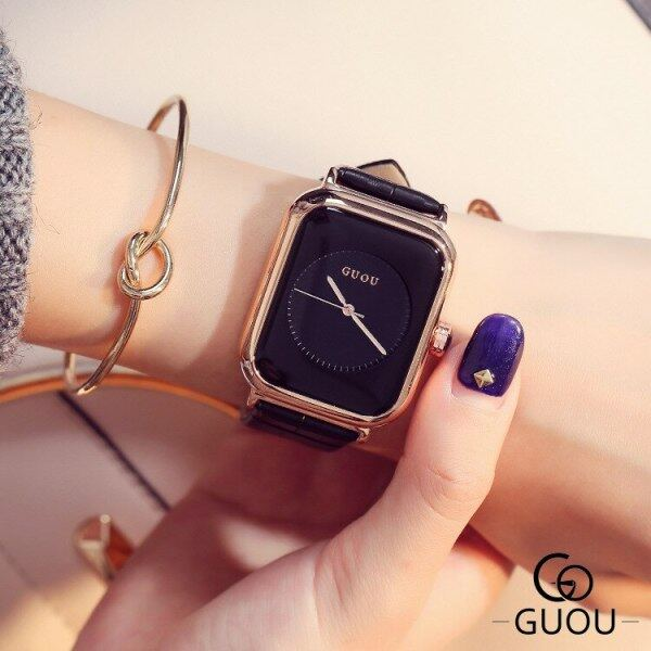 GUOU 8162 Top Brand Simple Fashion Watch Rectangle Dial Genuine Leather Quartz Watch Women Watches Malaysia
