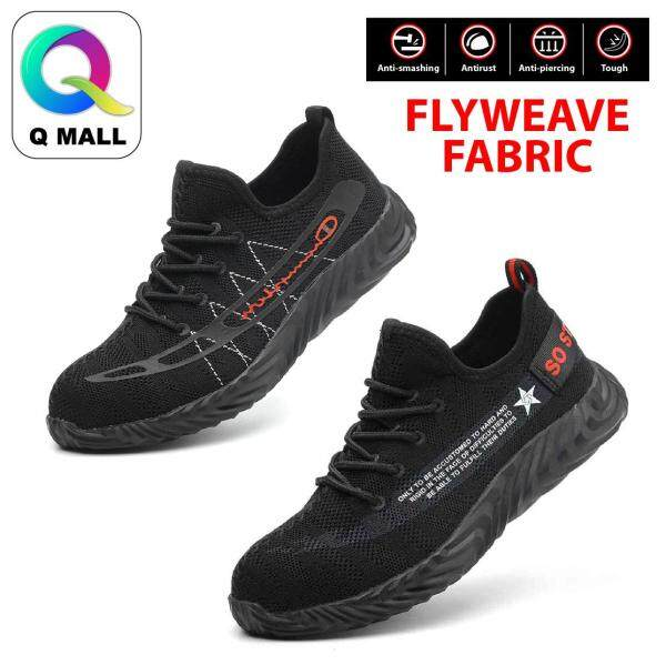Q Mall Fashion Low-Cut Steel Toe Cap Work Safety Shoes (Flyweave Fabric) - Black 801 & 802