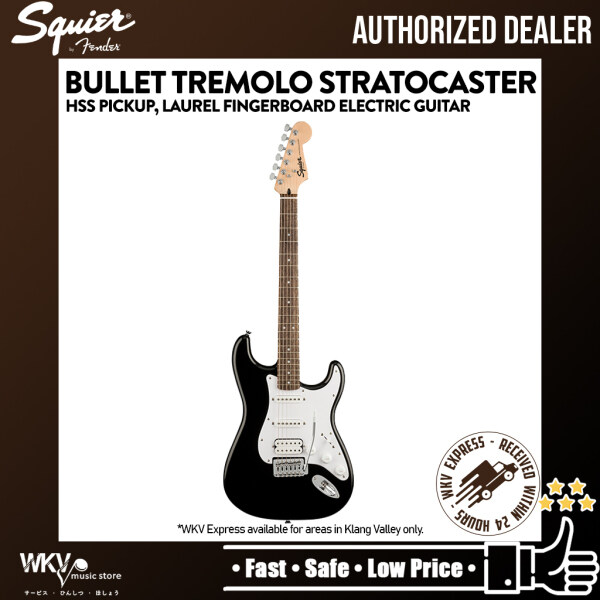 Squier by Fender Bullet Tremolo Stratocaster HSS Pickup with 6-String Electric Guitar Laurel Fingerboard - Black Malaysia