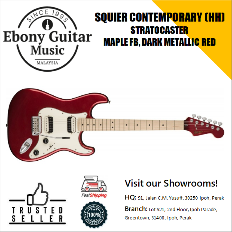 Squeir Contemporary HH Stratocaster Electric Guitar, Maple FB, Dark Metallic Red Malaysia