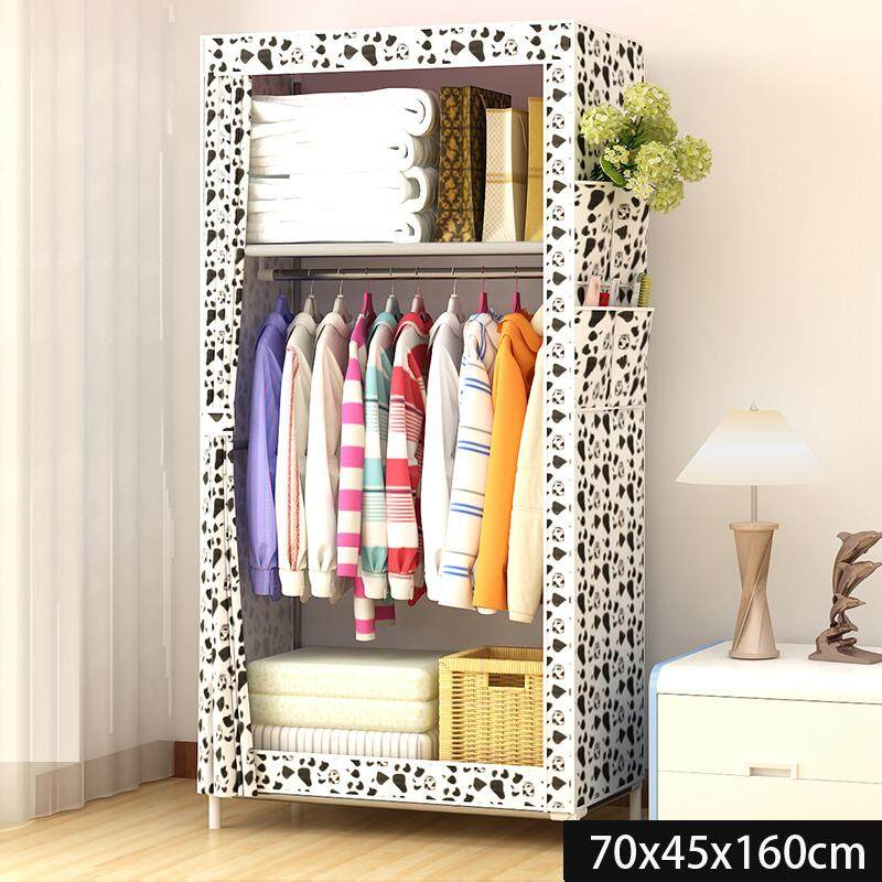 RuYiYu - 160 x 70 x 45 cm, Extra Wide Clothes Closet, Portable Clothes Closet Wardrobe with Non-woven Fabric and Hanging Rod Quick and Easy to Assemble