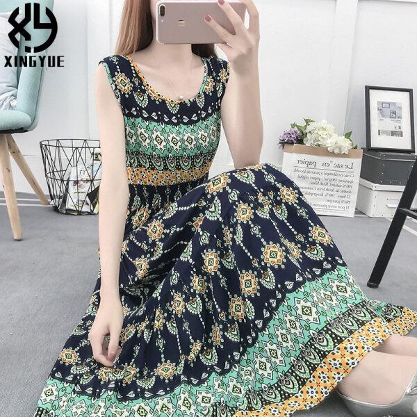 Mùa Hè 2020 Phong Cách Mới Big Bohemian Daisy Cotton Eo Cỡ Lỡn Chân Váy Dài Không Tay Váy Lụa Cotton