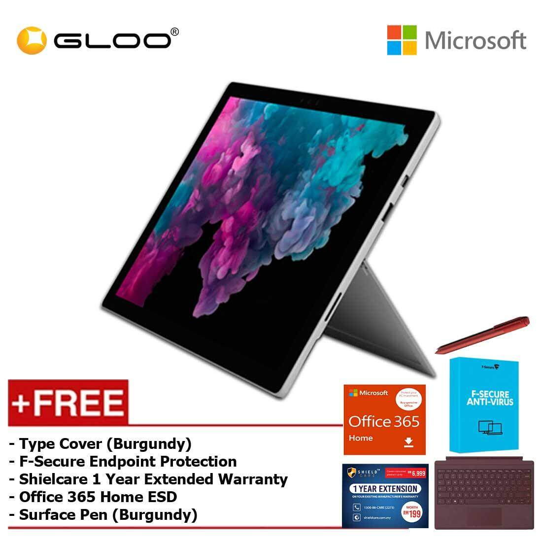Microsoft Surface Pro 6 Core i5/8GB RAM -128GB + Type Cover Burgundy +  Office 365 Home (ESD) + Pen Burgundy + Fsecure + Shieldcare 1 Year Extended Warranty Malaysia