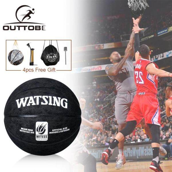 Outtobe Basketball Balls Size 7 Leather Material Basketball Ball Outdoor Indoor Training Ball Free With Net Bag Inflator Pin and Waterproof Bag
