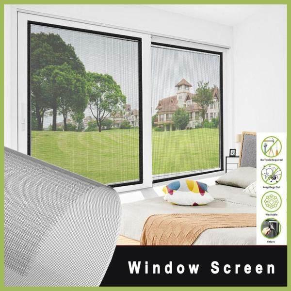 Window Screen DIY Customizable Adjustable Anti Mosquito Net Fiberglass Mesh Replacement Net with Sticky Loop for Window, Door and Patio, Screen Protection, Patio Screens