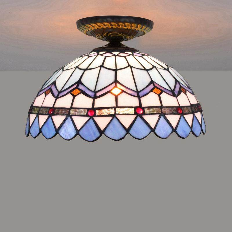 Retro Glass Ceiling Lamp Mediterranean Stained Glass Chandelier for Living Room Dining Room Bar Decorative Lighting D30cm