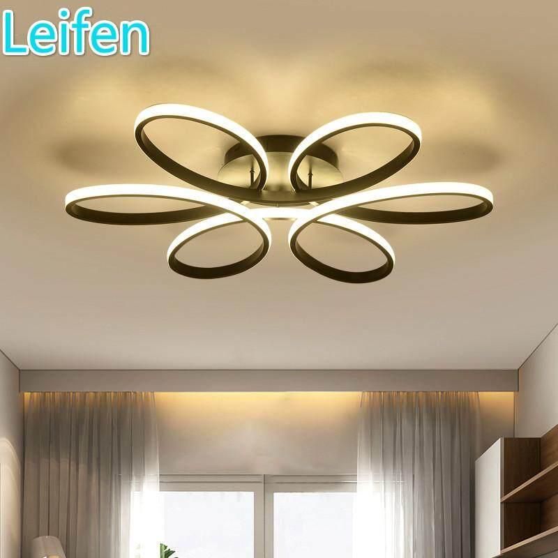 Modern Dimmable led chandelier for living room bedroom dining room aluminum body Indoor home chandelier lamp lighting fixture AC220v (black shell)