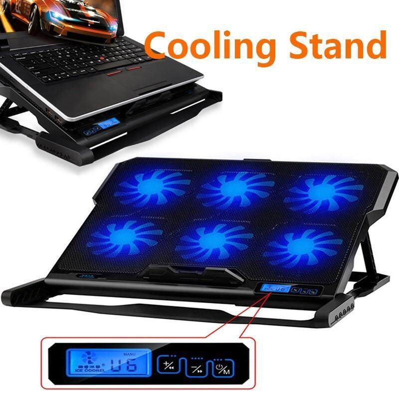 OrzBuy K6 Laptop Cooler Cooling Pads,6 Fan LCD Display Radiator Super Mute Ice Cooling with Speed Control For 14-15.6 Laptop/Notebook Malaysia