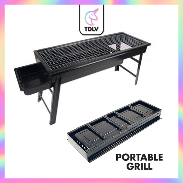 TDLV Portable BBQ Grill Outdoor Folding Barbecue Outdoor Charcoal BBQ Grill Camping Picnic Charcoal Grill Stand