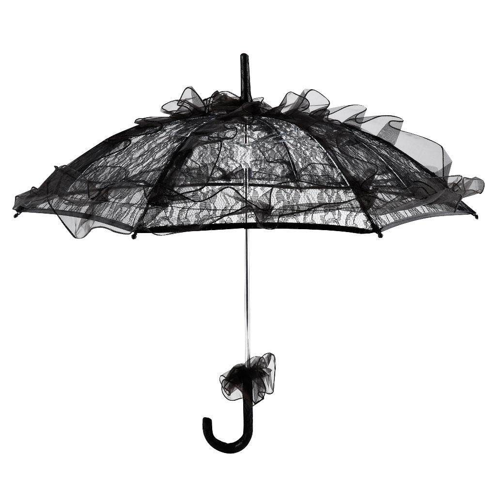 Andylike Black Color Lace Umbrella Parasol for Lady Women Party Decor Dancing Photography Prop