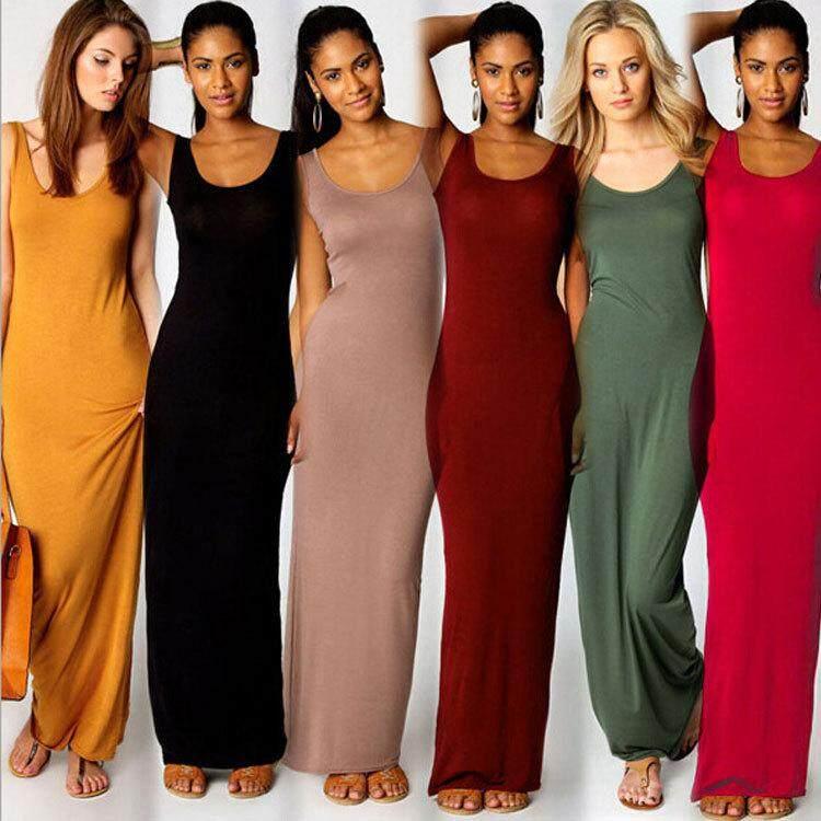 20 Colors Plus Size Basic Pure Color Sleeveless Long Maxi Dress.
