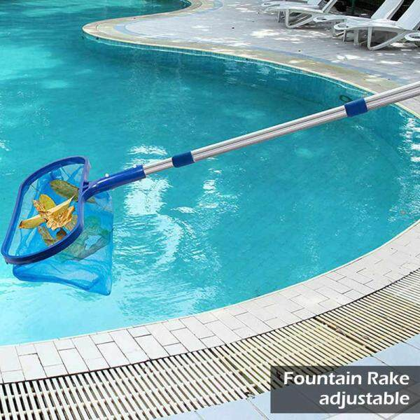 Time-saving Labor-saving Extended Retractable Swimming Pool Fishing Leaf Net Household Outdoor Swimming Pool Cleaning Tool Net Aluminum Strong And Durable Retractable Time-saving A Multifunction