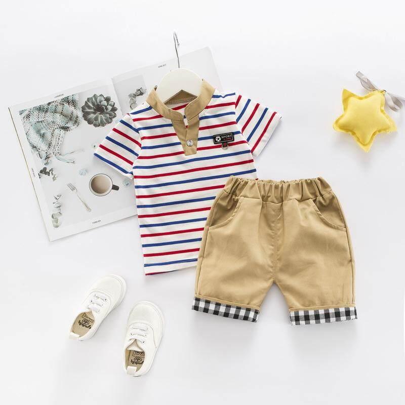 เด็กชายซัมเมอร์แขนสั้นลายทางพิมพ์เสื้อเสื้อเสื้อ + กางเกงขาสั้นเด็กชุดลำลองชุด By Babyqt.