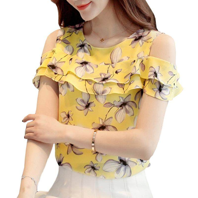 f265db758e683 Summer Tops Female Fashion Cold Shoulder Tops Ruffles Casual Chiffon Blouse  Women Elegant Floral Print Blouses