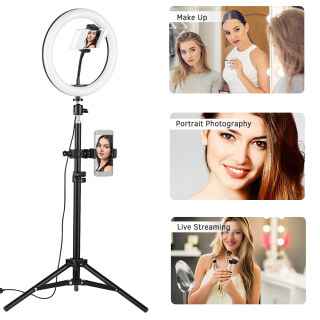 docooler 10 Inch Desktop LED Video Ring Light Lamp 3 Lighting Modes Dimmable USB Powered with Phone Holder Ballhead Adapter 80cm Light Stand for YouTube Live Video Recording Network Broadcast Selfie Makeup thumbnail
