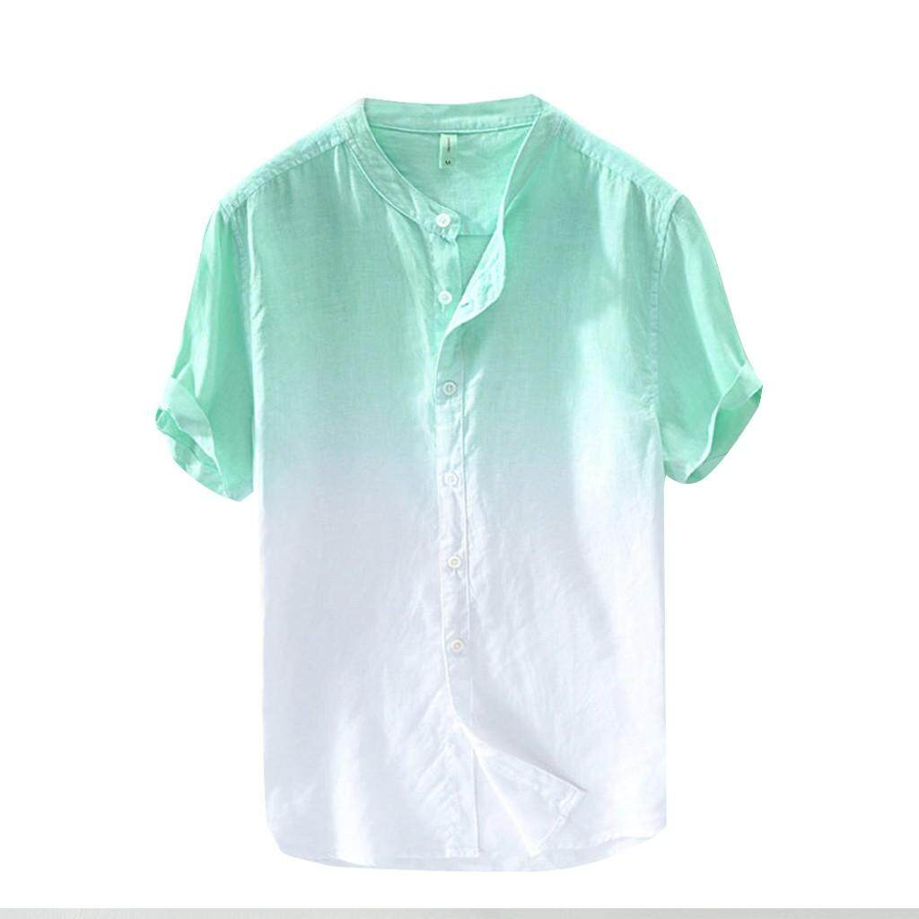 917243679 CHB- Summer Men's Cool And Thin Breathable Collar Hanging Dyed Gradient  Cotton Shirt