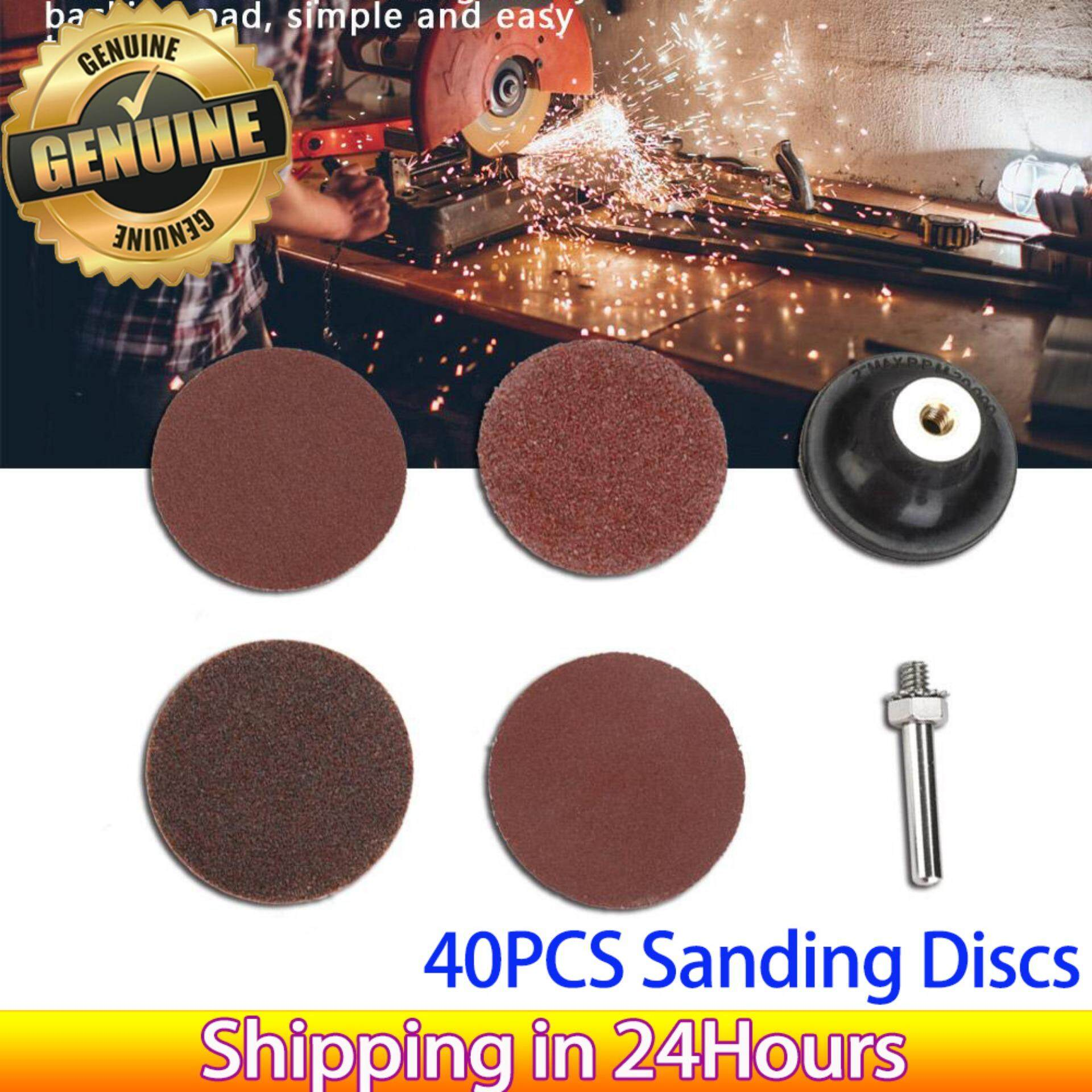 【Promotions】40PCS 2-inch Round Shape Sanding Discs 40 80 120 240# Grit Sand Papers with Sticky Backing Pad