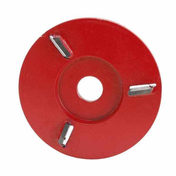Three Teeth Woodworking Turbo Plane Wood Carving Disc Tool Milling Cutter for 16mm Aperture Angle Grinder (Red)