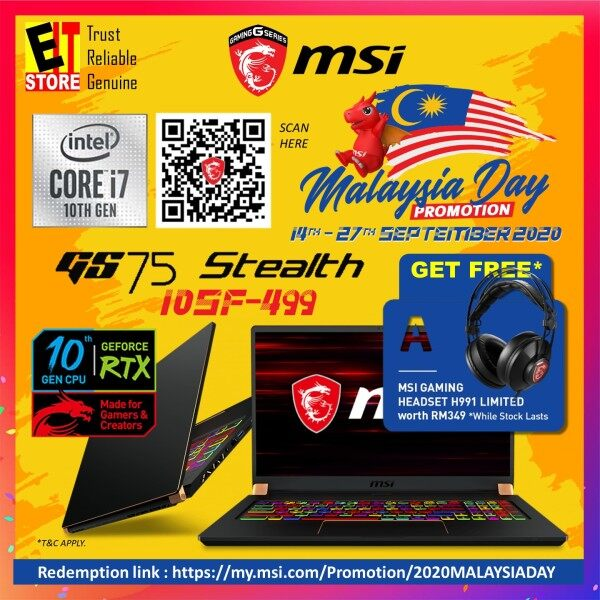 MSI STEALTH GS75 10SF-499 GAMING LAPTOP (I7-10875H/16GB/1TB SSD/17.3 FHD 240Hz/RTX2070 MAXQ 8GB/W10/2YRS)+BACKPACK Malaysia