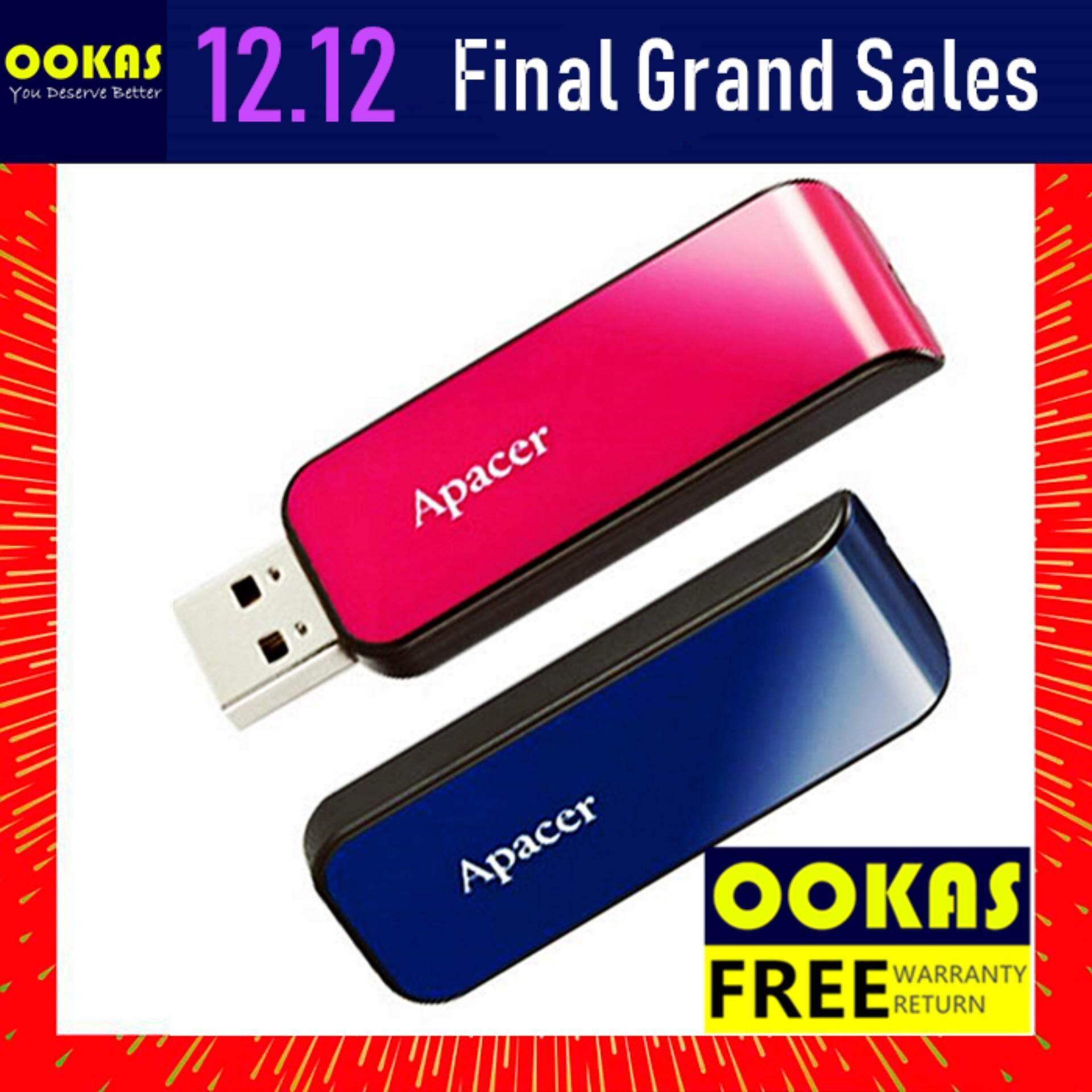 Apacer USB Flash Drive Pendrive 16GB AH334 ThumbDrive (Pink)