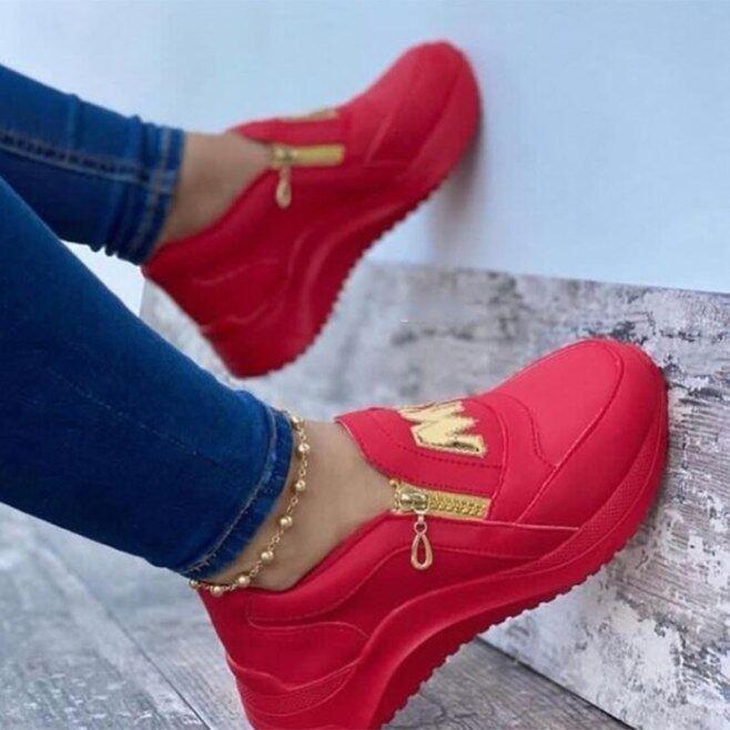Mùa Xuân Nêm Màu Đen Giày Thể Thao Nền Tảng Phụ Nữ Giày, Giày Lưu Hóa Nữ Hàn Quốc Thường Ngày Khóa Kéo Thời Trang Đế Dày giá rẻ