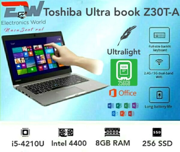 Grade A Certified Toshiba Z30T-A,  13.3 inches Touchscreen Laptop with Intel Core i5-4th Gen, 8GB RAM - 256 SSD / Windows 10 Pro (Refurbished) Malaysia