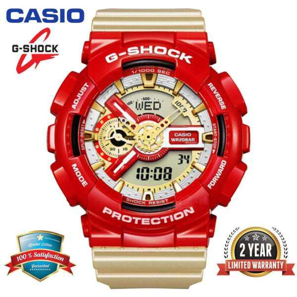 Original G Shock GA110 Men Sport Watch Dual Time Display 200M Water Resistant Shockproof and Waterproof World Time LED Auto Light Sports Wrist Watches with 2 Year Warranty GA-110CS-4A Red Gold (Ready Stock) Malaysia