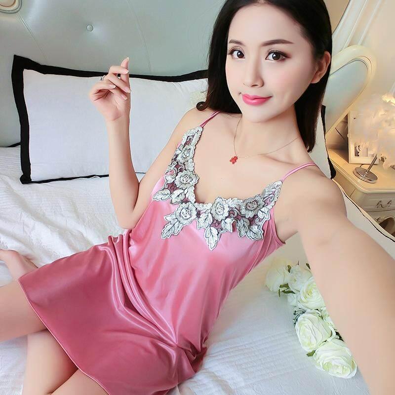 3c93d6e84002 Korean Version Summer Sling Nightdress Ladies Summer Sexy Ice Silk Thin  Silk Mid-long Skirt
