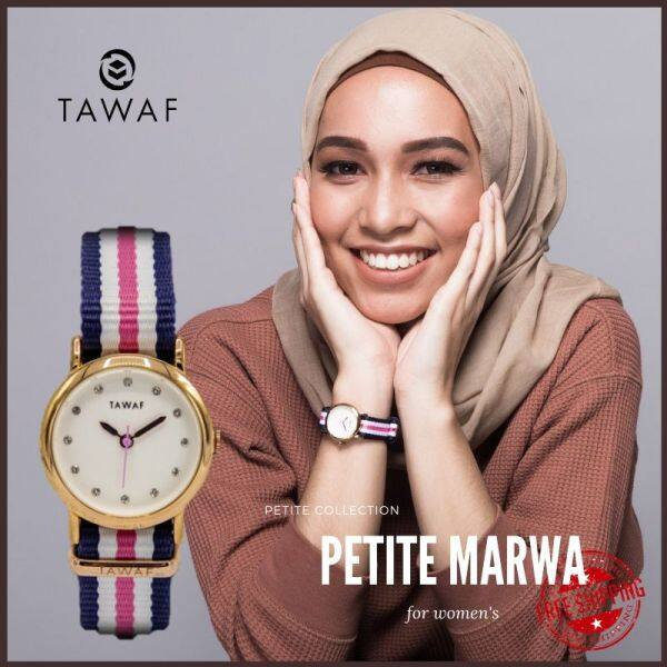 [BRAND: TAWAF]  PETITE Women CLOCKWISE Arabic COLOR STRAP Numeral Clockwise Watch Canvas Strap Malaysia