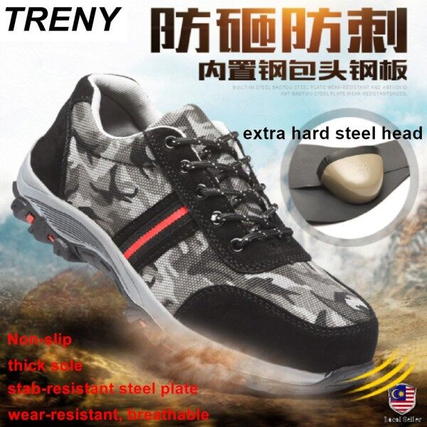 TRENY  Steel Toe Cap Work Shoes 204 Anti Slip Safety Shoes Anti Smash Safety Shoe Protective Steel Toe Cap Boots Youngster Safety Shoes Fashion Safety Shoe New Style Work Shoes Kasut Keselamatan Kasut Kerja Kasut Kilang Fesyen Kasut Kerja Murah Baik