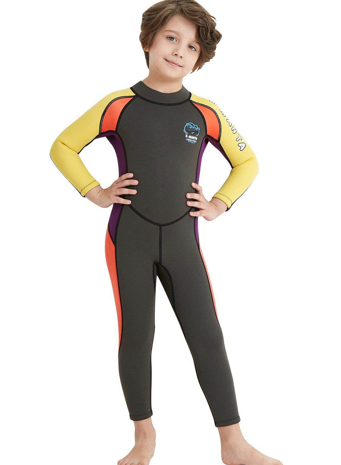 d96b6bef41 DIVE & SAIL Kids Boys 2.5mm Wetsuit Long Sleeve One Piece UV Protection  Thermal Swimsuit